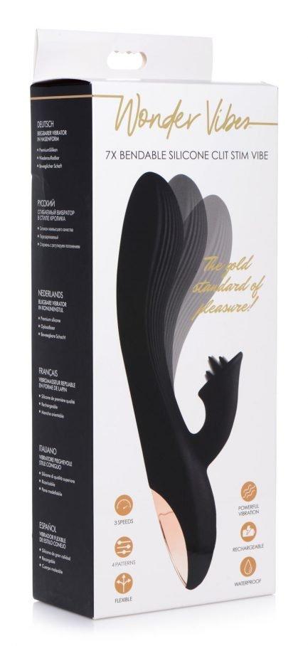 vibrador 7x Bendable Silicone Clit Stimulating Vibrator - Black